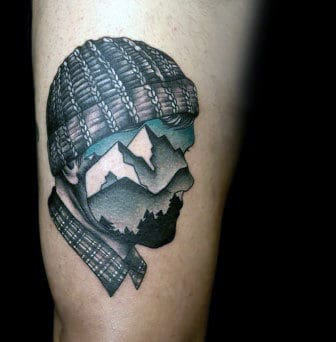 Face Mountain Top Tattoos For Men