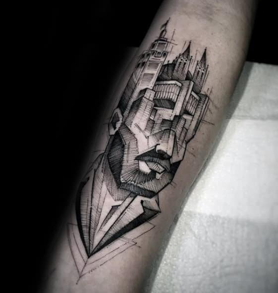 Face Of Man With Skyline Head Guys Forearm Tattoo