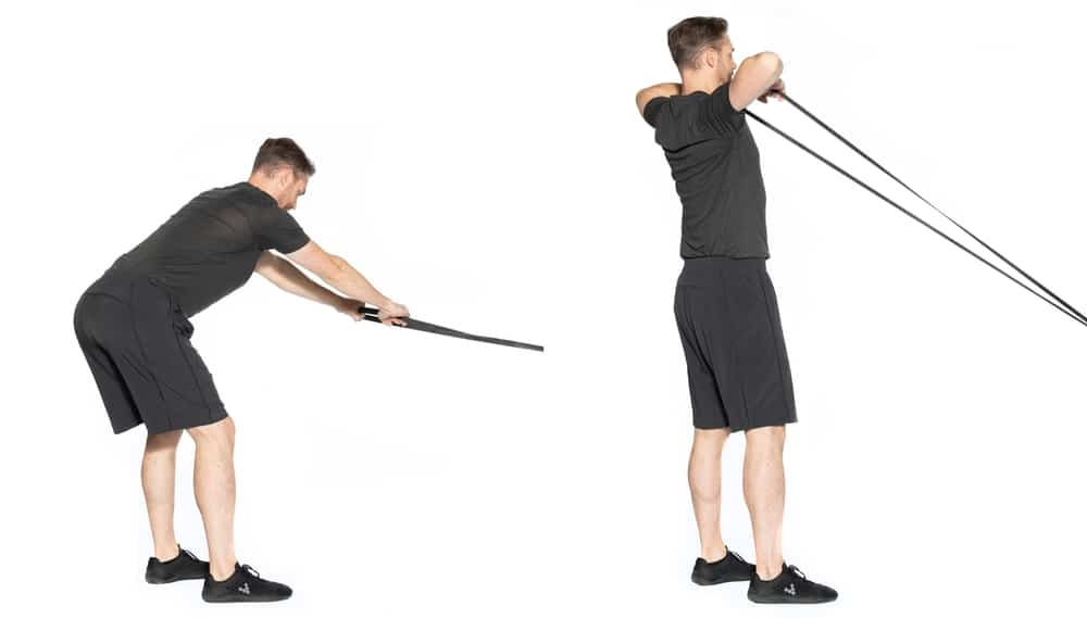 band resisted hip hinge to face pull gym exercise