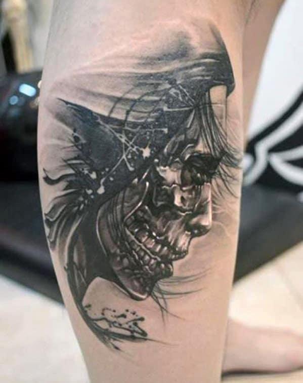 Face Skull Tattoos On Men's Leg