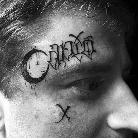 Face Tattoo Of Modern Lettering Design On Gentleman