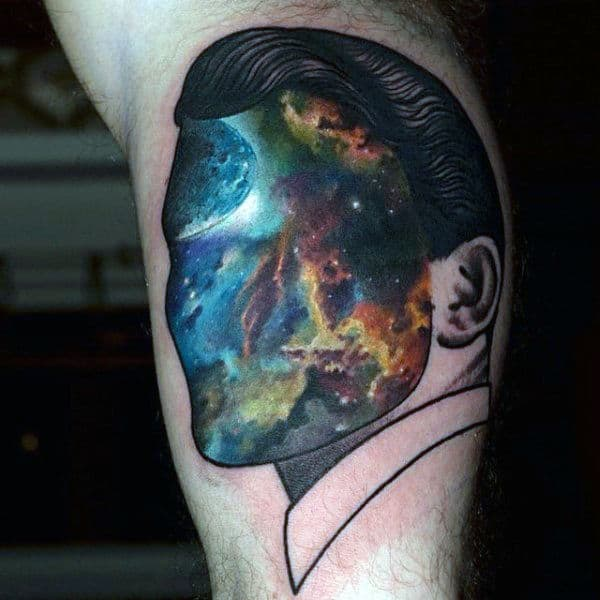 Face With Illustrated Galaxy Tattoos On Bicep For Male