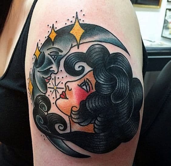 Facing Moon Gypsy Tattoo