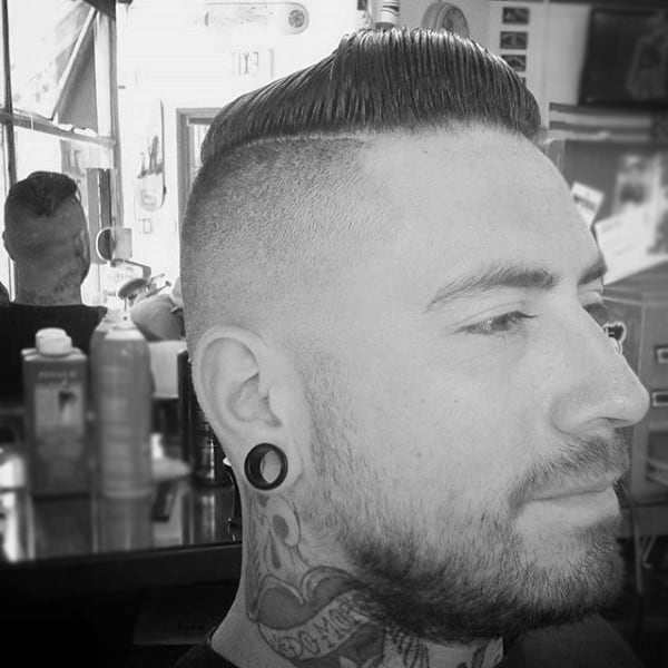 Fade Haircut Comb Over For Males