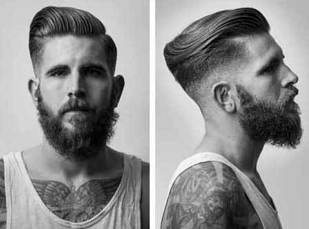 Fade Modern Men Hair Cuts Slicked Back Look