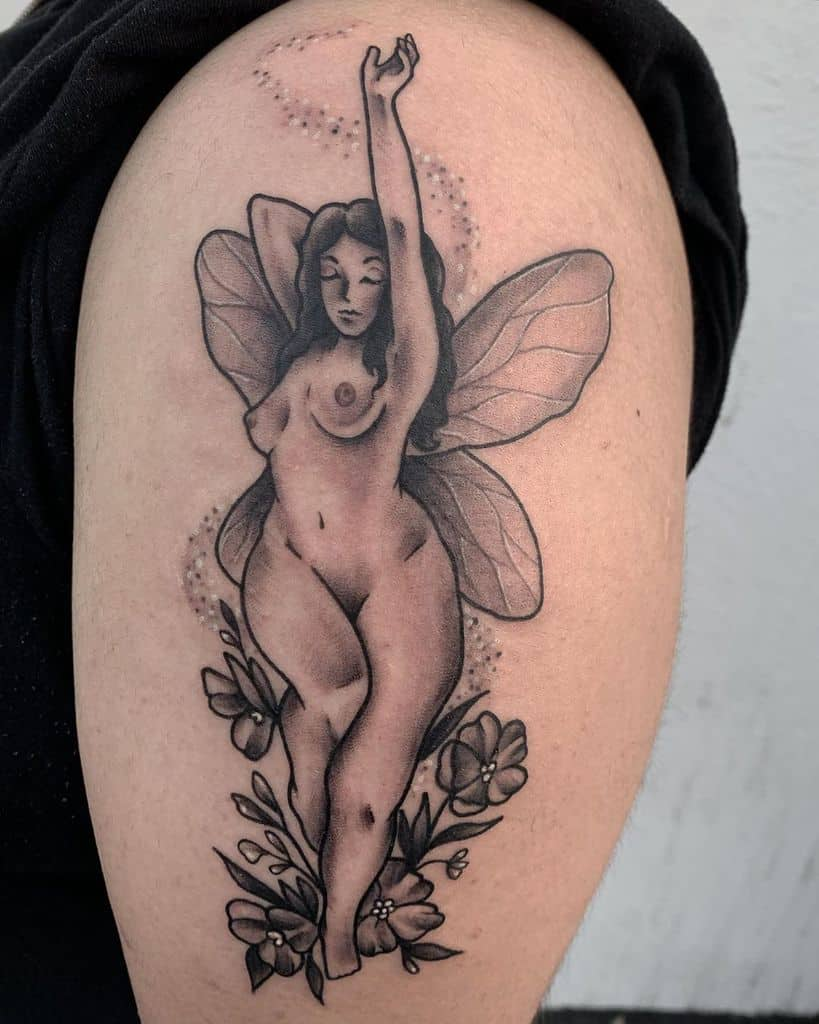 Fairy God Mother Magic Creatures Happy Tattoo