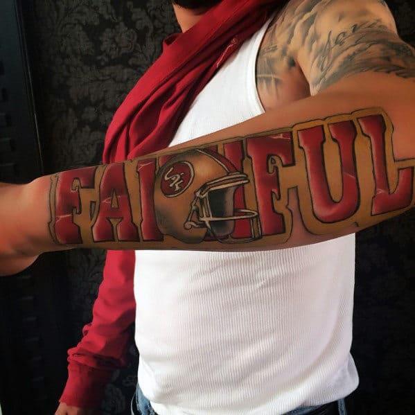 Faithful Football Helmet San Francisco 49ers Guys Outer Forearm Tattoo