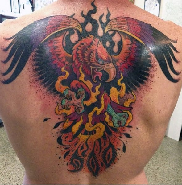 Falcon Mens Back Fire Tattoo Designs