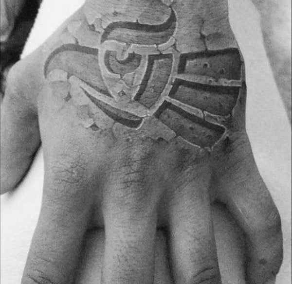 Falcon Stone Mens Hand Tattoos