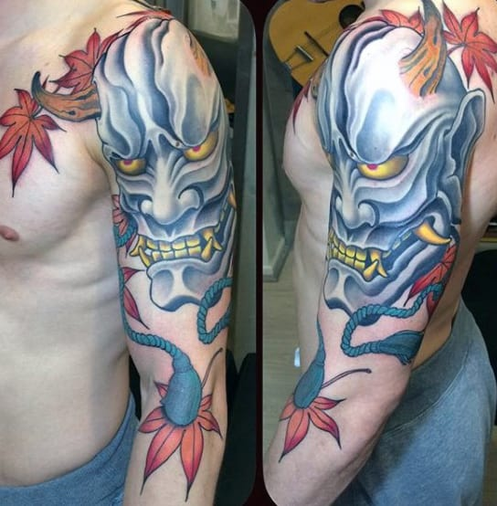 Fall Leaves Mens Hannya Mask Upper Arm Tattoo