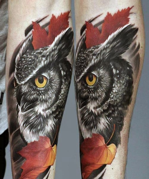 Fall Leaves With Owl Mens Realistic Forearm Tattoo Ideas