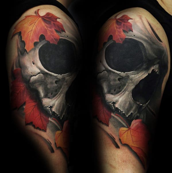 Fall Leaves With Realistic Skull Male Arm Tattoo