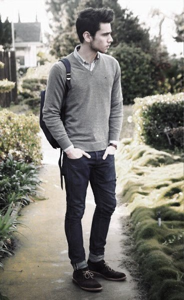 Fall Outfits Outfits For Men Grey Sweater With Jeans