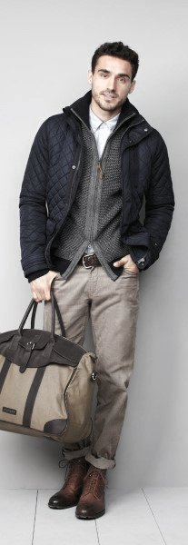 Fall Outfits Styles For Gentlemen Winter Coat With Grey Cardigan