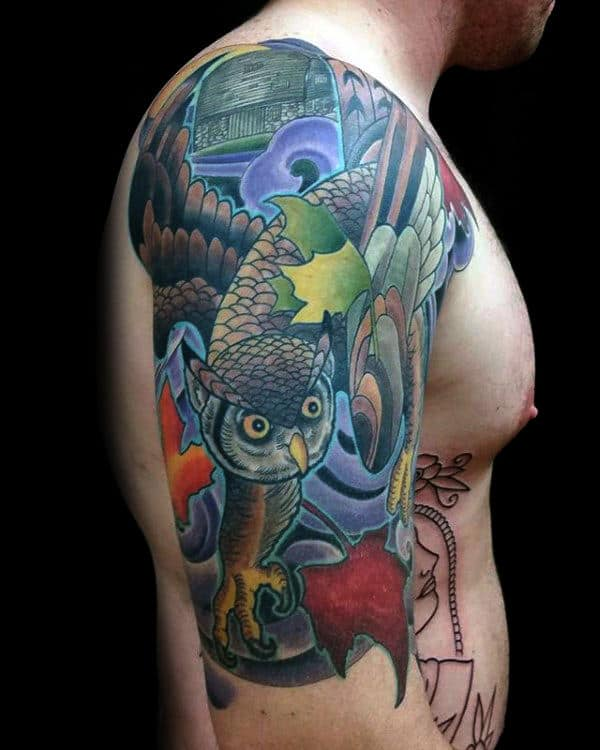 Fall Owl With Leaves Mens Japanese Half Sleeve Tattoo Designs