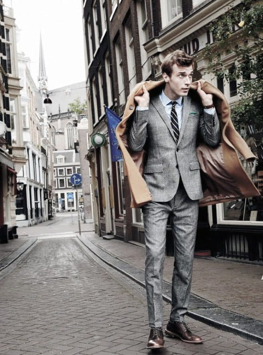 Fall Season Charcoal Grey Suit Brown Shoes Outfits For Men
