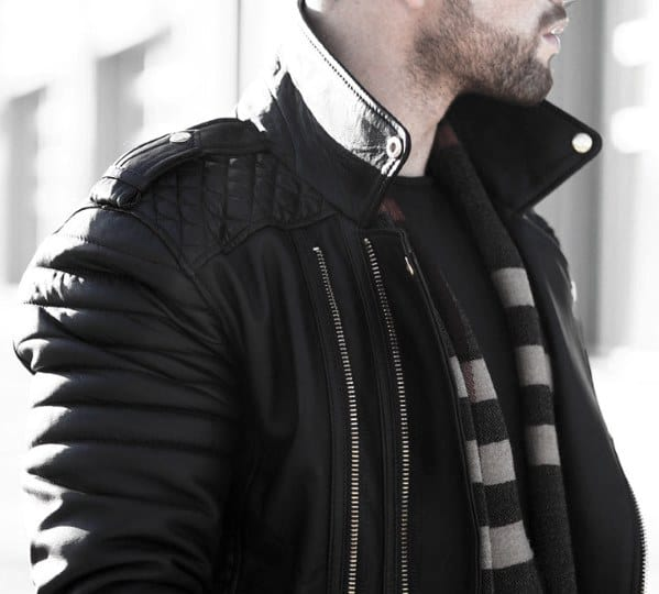 Fall Season How To Wear A Leather Jacket Guys Leather Jacket Outfits Style Fashion Inspiration With Scarf