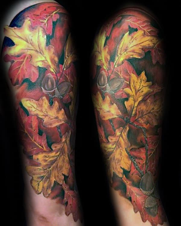 Fall Themed Mens Leaves Half Sleeve Tattoos