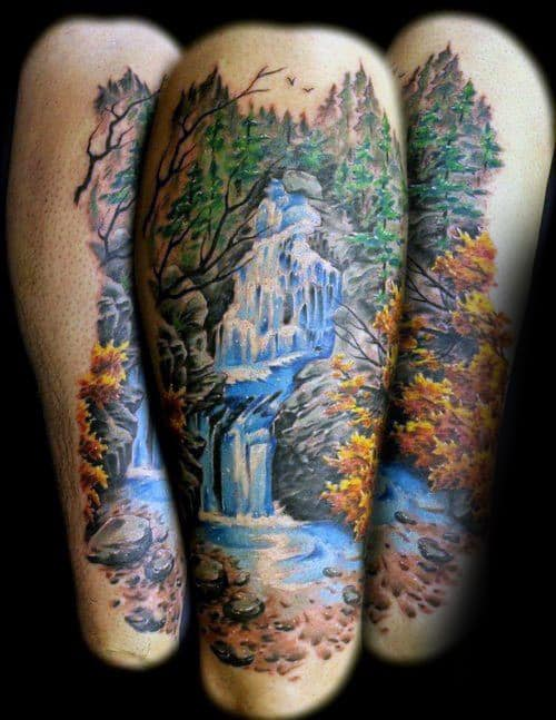 Fall Waterfall Mens Thigh Tattoo