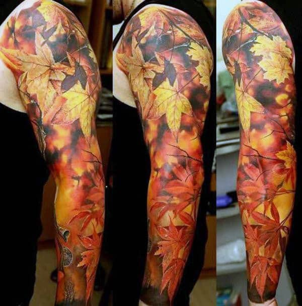 Fall Yellow And Orange Leaves Mens Full Sleeve Tattoos