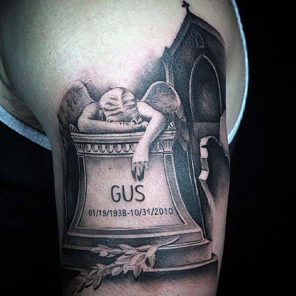 Fallen Angel Tombstone Shaded Mens Upper Arm Bicep Tattoos