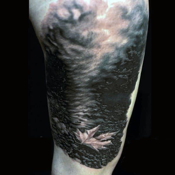 Fallen Mens Leaf Tattoos On Upper Arm