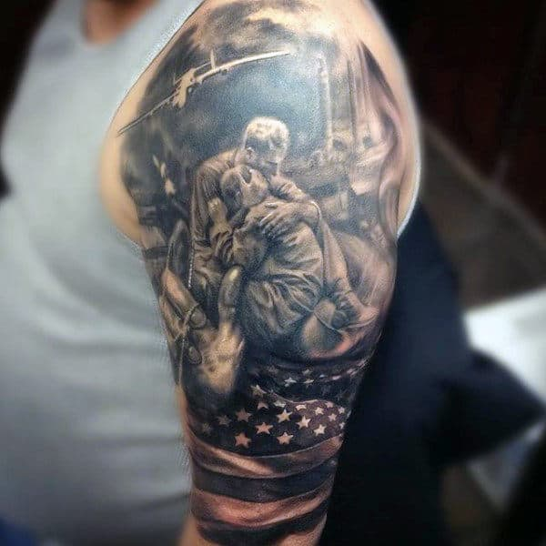 Fallen Soldier Men Sleeve Tattoo United States Air Force
