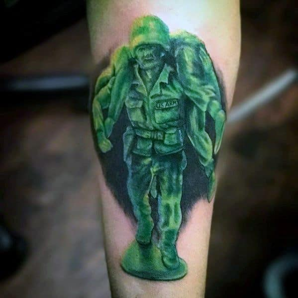 Fallen Toy Solider Inner Forearm Cover Up Tattoos For Men