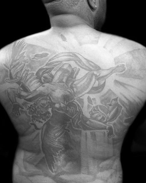 Falling Icarus Mens Full Back Tattoos