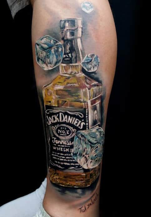 Falling Ice Cubes Male Jack Daniels Leg Tattoos