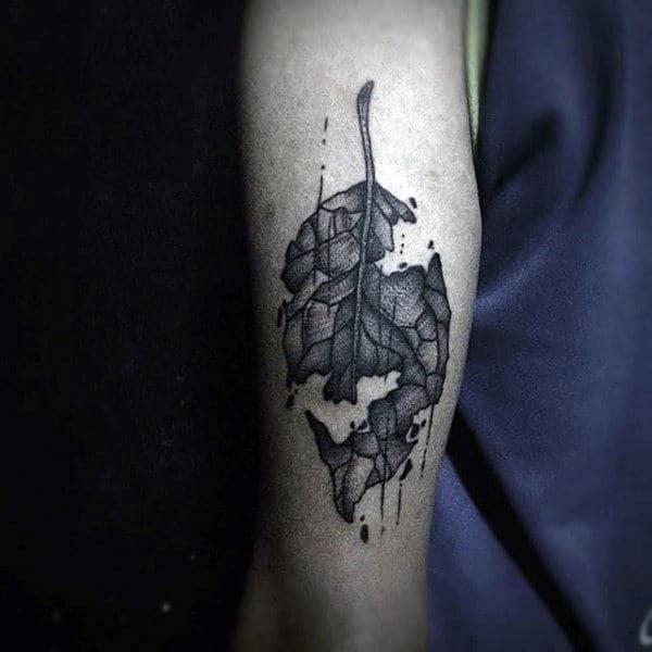 Falling Leaves Tattoo For Men On Forearm