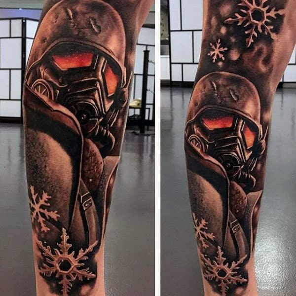 Fallout Shaded Video Game Black Ink Tattoos For Guys