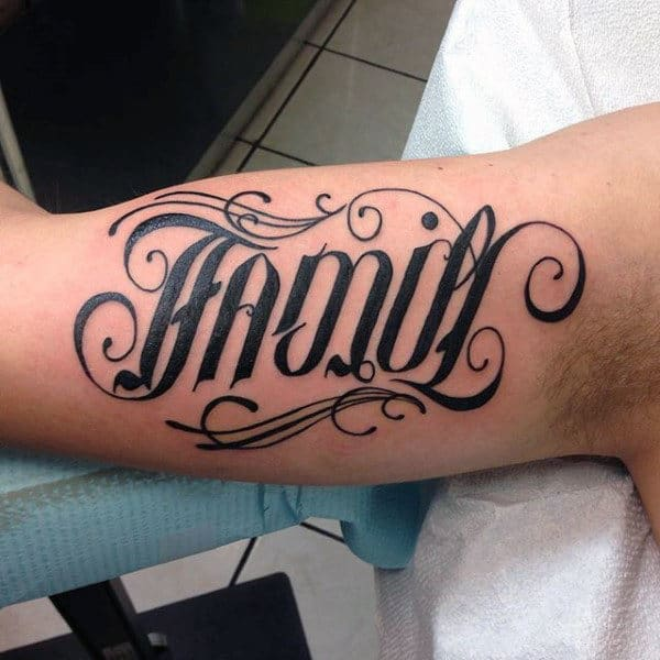Family Ambigram Tattoo For Men On Bicep