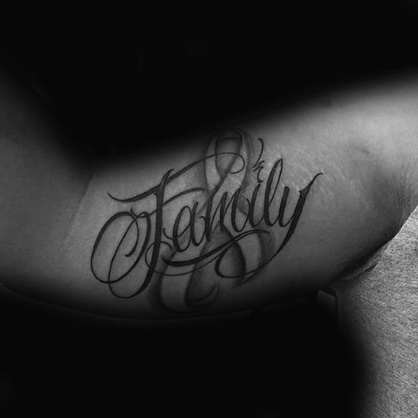 Family Cancer Ribbon Mens Inner Arm Tattoos
