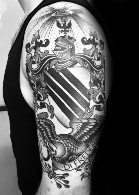 Family Crest Last Name Banner Mens Arm Tattoos