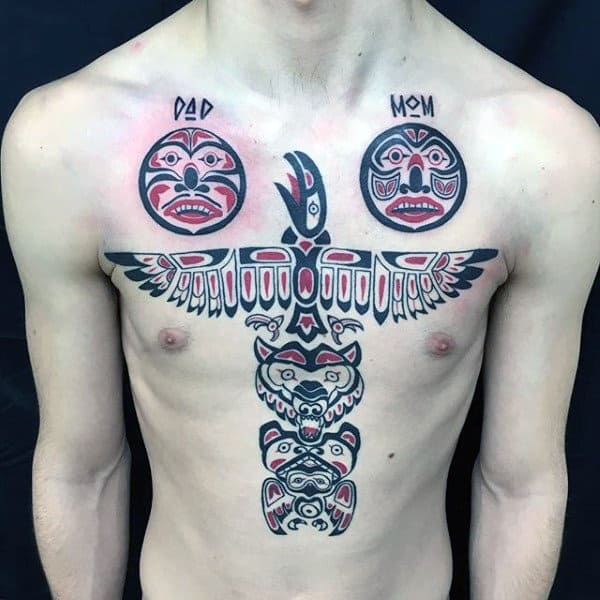 Family Haida Tattoo Male Torso