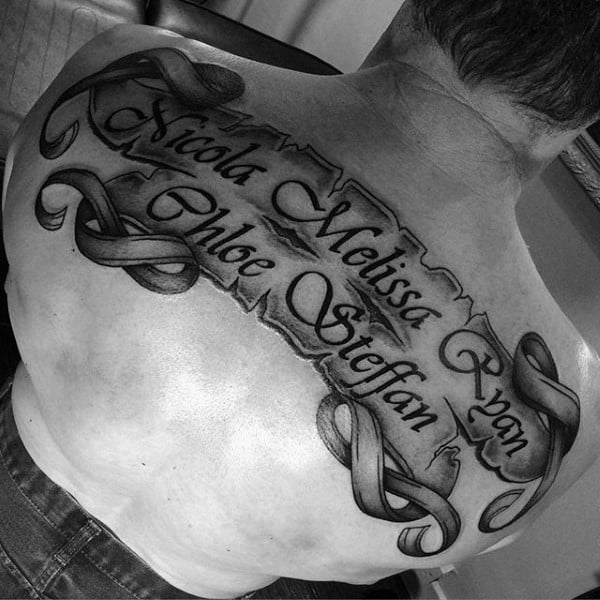 Family Names Guys Scroll Upper Back Tattoos
