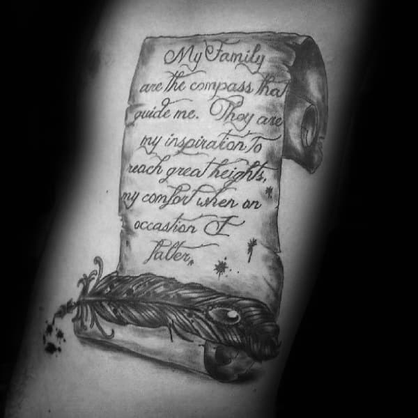 Family Quote Mens Scroll Rib Cage Side Tattoos