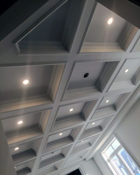 Family Room Coffered Ceilings