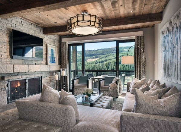 Family Room Luxury Rustic Ceiling Ideas