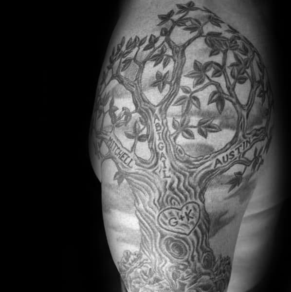 Family Tree With Carved Names Male Half Sleeve Tattoo Inspiration