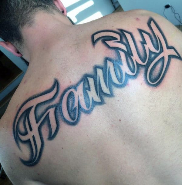 Family Upper Back Male Negative Space Shaded Script Tattoos