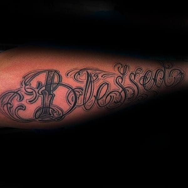 Fancy Blessed Lettering Guys Forearm Tattoo