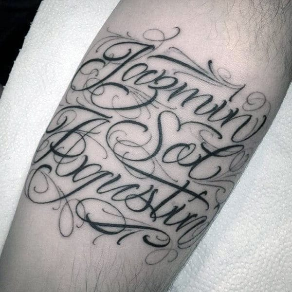 Fancy Lettering Male Cursive Name Tattoo On Arm