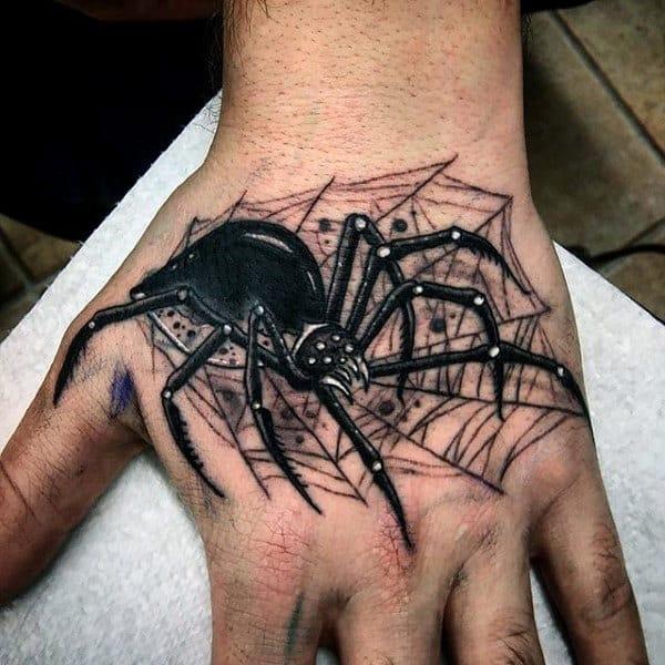 Fantastic 3D Black Spider Tattoo On Hands For Men