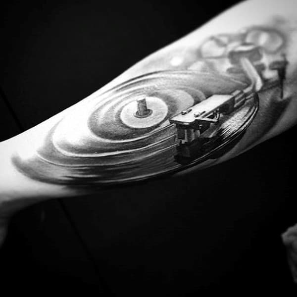 Fantastic 3D Musical Tattoo On Forearm For Men