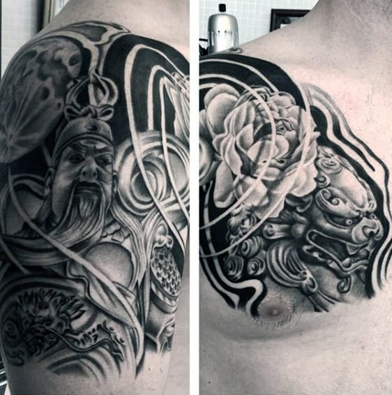 Fantastic Black And White Tattoo Mens Shoulders