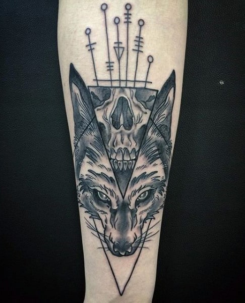 Fantastic Black Fox Tattoo Males Forearm