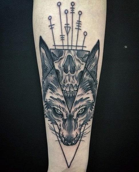 Fantastic Black Fox Tattoo Males Forearm