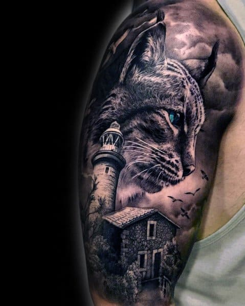 Fantastic Cat Tattoo Designs For Men Half Sleeve